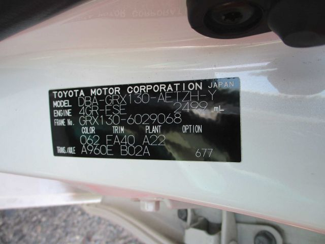 TOYOTA MARK X 2010/07 GRX130-6029068