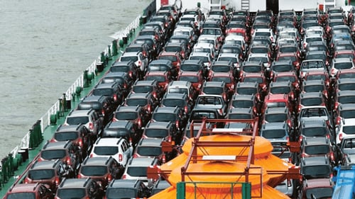 Cars on a boat